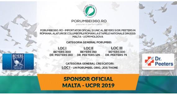 Porumbei 360 sponsorizează Derby Malta 2019: va oferi produse de la Beyers și Dr. Peeters
